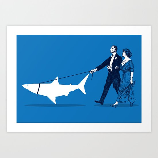 Walking the Shark Art Print