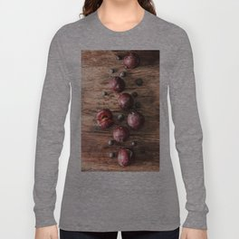food. Ripe plums on a wooden background. interesting solutions for the home Long Sleeve T-shirt
