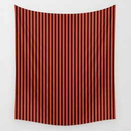 Tangerine Tango and Black Stripes Wall Tapestry