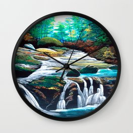 Mountain stream scenery of autumnal leaves Wall Clock