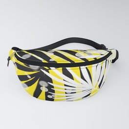 Black and White Tropical Leaves Fanny Pack
