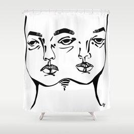Tumblr 3 eyed twin girl Shower Curtain