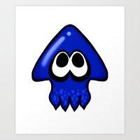 splatoon Squid Blue  Art Print