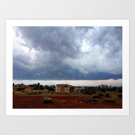 Cloudy Village Art Print