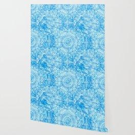 Butterfly and kaleidoscope in blue Wallpaper