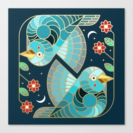 Beautiful Art Deco Midnight Bluebirds And Blossoms Canvas Print