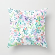 Hand drawn coral pink green watercolor floral Throw Pillow