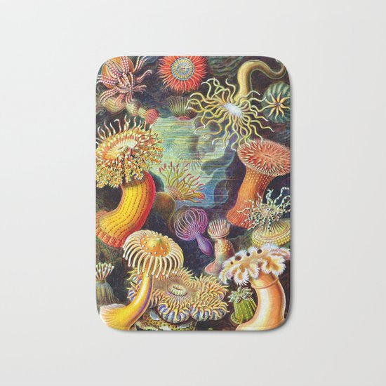 Under the Sea : Sea Anemones (Actiniae) by Ernst Haeckel Bath Mat
