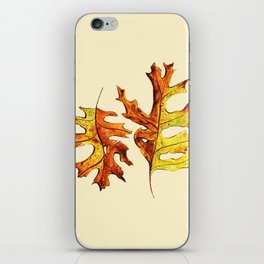 Ink And Watercolor Painted Dancing Autumn Leaves iPhone Skin