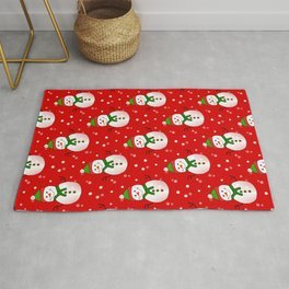 Snowman Pattern Red - Merry Christmas Rug