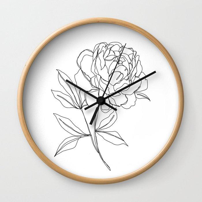 Botanical illustration line drawing - Peony Wall Clock