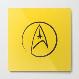 Heathen Trekkie - StarTrek 's Kirk Yellow Metal Print