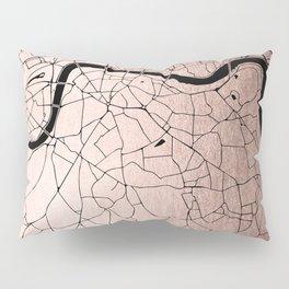 London Rosegold on Black Street Map Pillow Sham