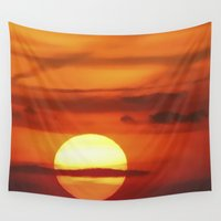 uk Wall Tapestries featuring Sunset at Devil's Dyke (UK) by Webgrrl