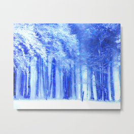 Winter forest in cold blue Metal Print