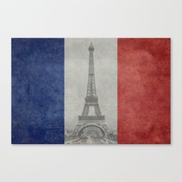 Flag of France with Eiffel Tower Vintage style Canvas Print