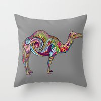 camel Throw Pillows featuring Camel by Green Girl Canvas