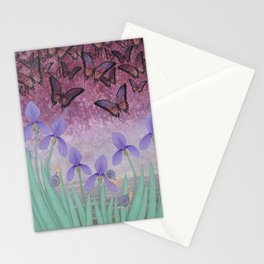 butterflies dance in purple skies above irises Stationery Cards