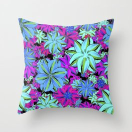 Vibrant Floral Collage Throw Pillow
