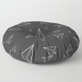 Paper Airplane Pattern | Line Drawing | Black Background Floor Pillow