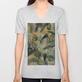 Bird of Paradise Jungle Leaves Dream #3 #tropical #decor #art #society6 Unisex V-Neck