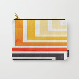 Orange Mid Century Modern Watercolor Colorful Ancient Aztec Art Pattern Minimalist Geometric Pattern Carry-All Pouch