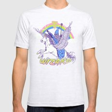 Pizza Wizard Ash Grey SMALL Mens Fitted Tee