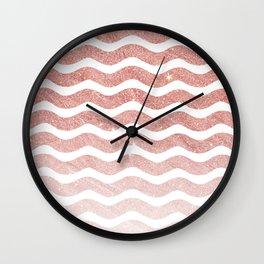 Elegant trendy pink gradient faux glitter chevron Wall Clock