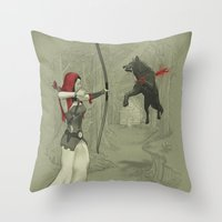 robin hood Throw Pillows featuring Little Red Robin Hood by Santo76