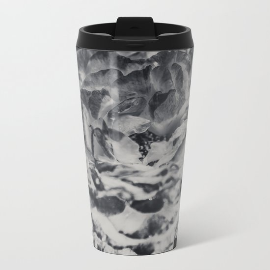 Desert Rose in Black and White Metal Travel Mug