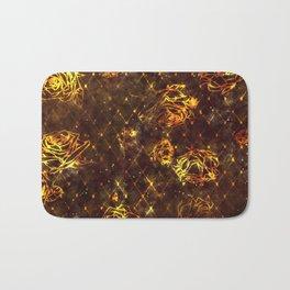 Diamond Rose Pattern - Maroon and Gold Bath Mat