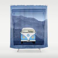 volkswagen Shower Curtains featuring Volkswagen Bus by Aquamarine Studio
