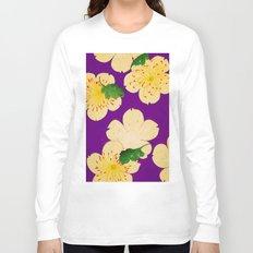 Purple Japanese Floral Vintage Pattern Long Sleeve T-shirt