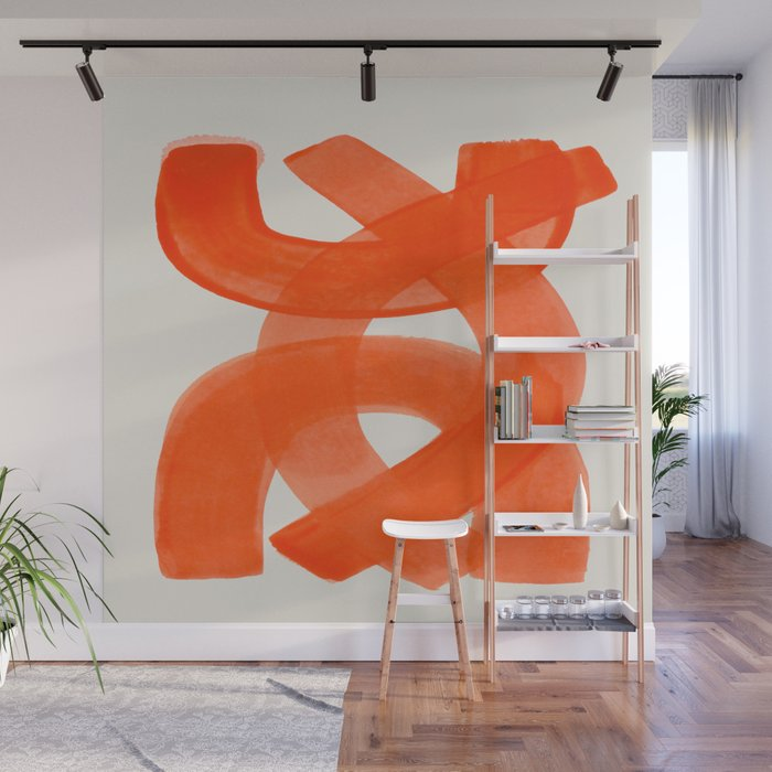 Mid Century Modern Abstract Painting Orange Watercolor Brush Strokes Wall Mural