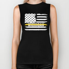 Michigan 911 Emergency Dispatcher Gift for Police, Fire and Ambulance Dispatchers Thin Gold Line Biker Tank