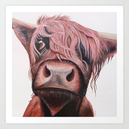 Highland Cow Art Print. Scottish Native Cow Wall Art. Art Print