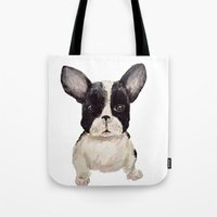 frenchie Tote Bags featuring Frenchie  by craftberrybush