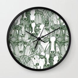 just cattle dark green white Wall Clock