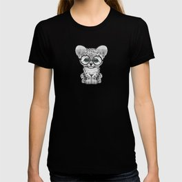 Cute Snow Leopard Cub Wearing Glasses on Teal Blue T-shirt