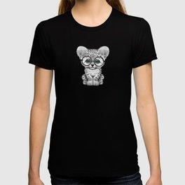 Cute Snow Leopard Cub Wearing Glasses on Teal Blue T-shirt