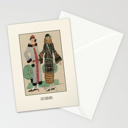 Les souers   The sisters in the parc   Art Deco Fashion illustration   Vintage, retro Design Stationery Cards