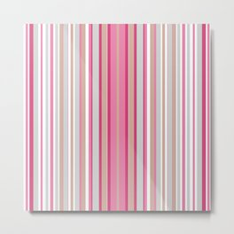Multi-colored striped pattern of pink , white and beige . Metal Print