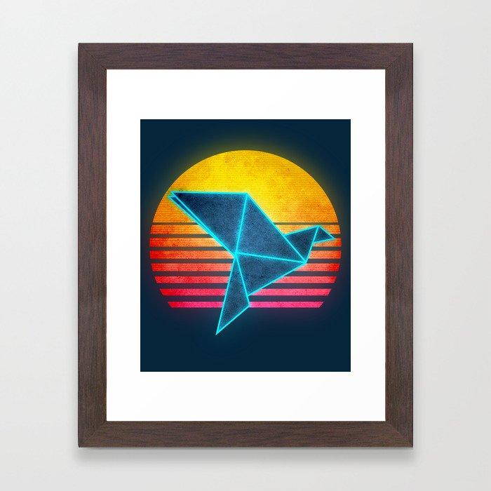 Neon Retro Synthwave Origami Framed Art Print