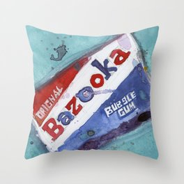Bazooka Bubble Gum Original Watercolor Throw Pillow
