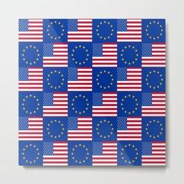 Mix of flag: USA and UE Metal Print
