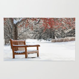 Winter Bench and Crabapple Tree Rug