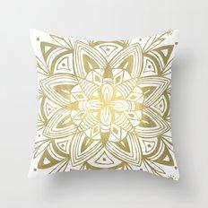 Mandala - Gold Throw Pillow