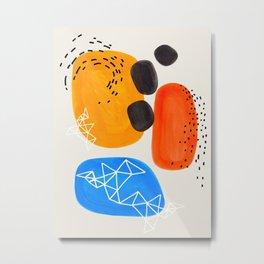 Fun Mid Century Modern Abstract Minimalist Yellow Orange Blue Watercolor Bubbles Metal Print