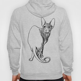 Sphynx Cat Illustration - Sphynx - Cat Drawing - Naked Cat - Wrinkly Cat - Black and White Hoody