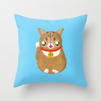 lil bub Throw Pillows featuring Lil Maneki Neko by ponychops